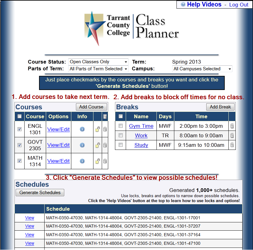 college schedule maker online