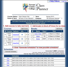 Class Planner home page