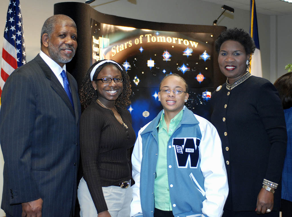 South Campus President Ernest Thomas, Wyatt High School students Cassandra Collier and Christina Kincade, and Vice Chancellor Erma Johnson Hadley