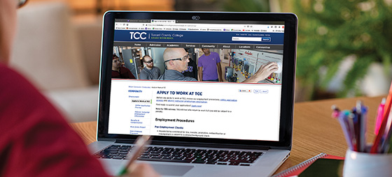 Computer screen with the Apply to Work at TCC webpage open