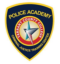 TCC Police Academy logo, which is a navy blue badge with the academy and College names