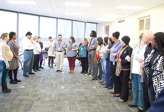 TCC Employess participate in a group training activity