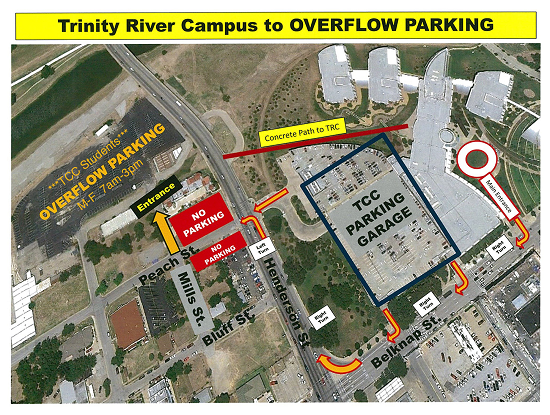 Trinity River Campus to Overflow Parking