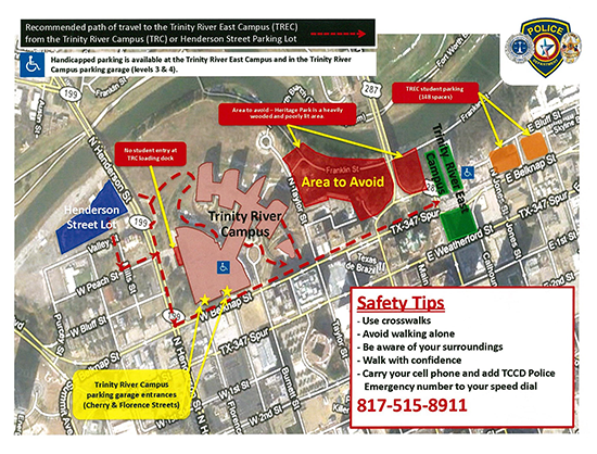 Trinity River East Campus overflow parking map