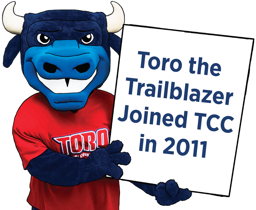 TCC's mascot is Toro the Trailblazer, a large, blue bull, who was adopted as the mascot in 2011