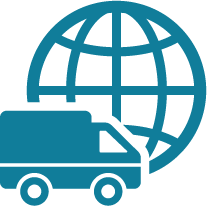 An image of a truck in front of a globe