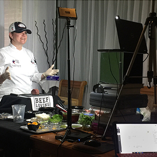 Culinary instructor giving a virtual class
